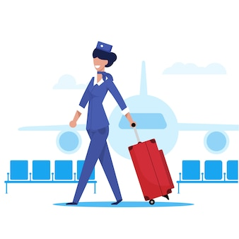 Stewardess een vliegtuig vlakke illustratie