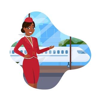 Stewardess in red uniform toont hand op het vliegtuig.
