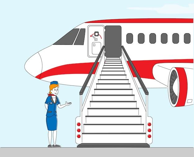 Stewardess karakter van het personeel van de luchtvaartmaatschappij