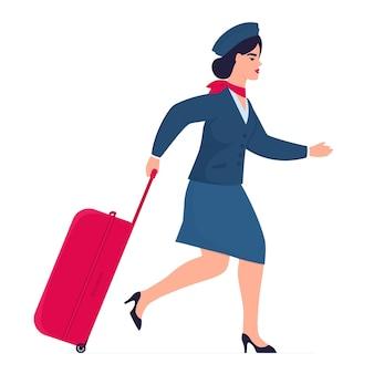 Stewardess met koffer haast zich voor de vlucht. opening van de cordons na quarantaine.
