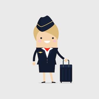 Stewardess met koffer.