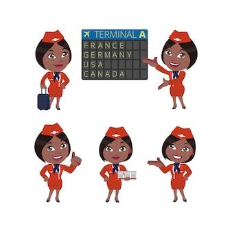 Stewardess met verschillende poses vector