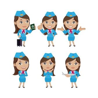 Stewardess met verschillende poses vectorbeelden