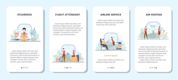 Stewardess mobiele applicatie banner set. geïsoleerde platte vectorillustratie