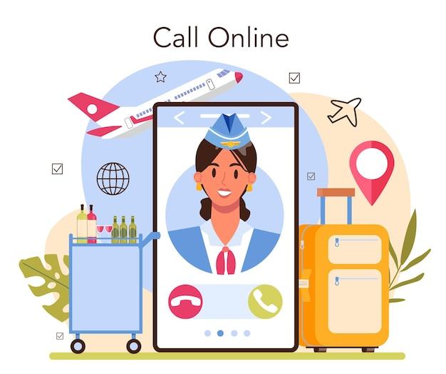 Stewardess online service of platform. stewardessen helpen passagier in vliegtuig. idee van reizen per vliegtuig en toerisme. online bellen. platte vectorillustratie