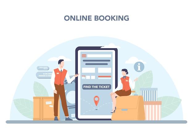Stewardess online service of platform. stewardessen helpen passagiers. reis per vliegtuig. online boeken. platte vectorillustratie