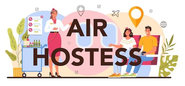 Stewardess typografische header. stewardessen helpen passagier in vliegtuig. stewardess helpt bij het reizen per vliegtuig. idee van beroep en toerisme. geïsoleerde platte vectorillustratie