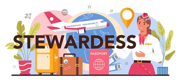 Stewardess typografische kop. stewardessen helpen passagier