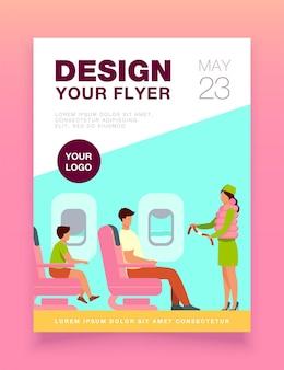 Stewardess veiligheidsinstructies sjabloon folder uit te leggen