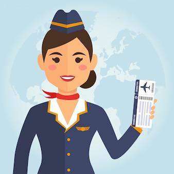 Stewardess vrouw in uniform