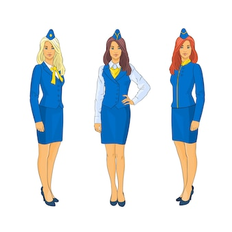 Stewardess wear uniform set airline crew