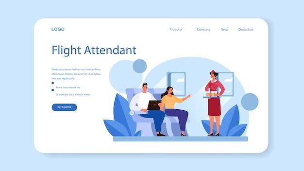 Stewardess webbanner of bestemmingspagina. geïsoleerde platte vectorillustratie
