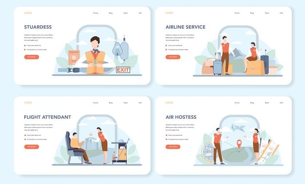Stewardess webbanner of bestemmingspagina set. stewardessen helpen passagier