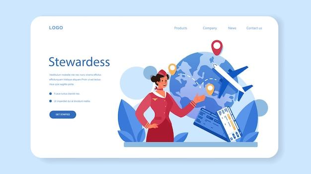 Stewardess webbanner of landingspagina