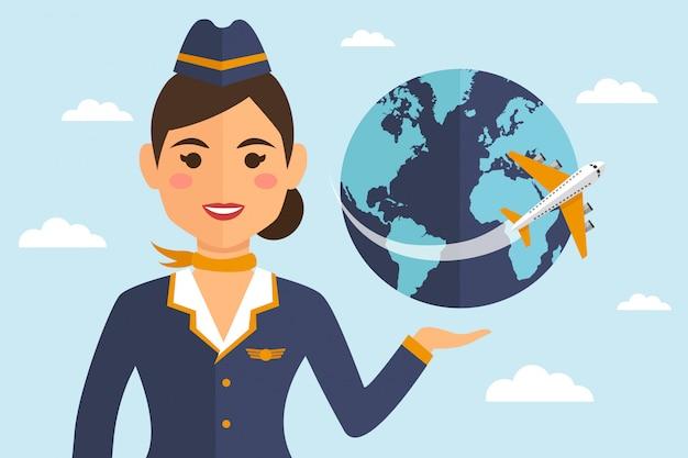 Stewardessvrouw in eenvormig met aarde en vliegtuig