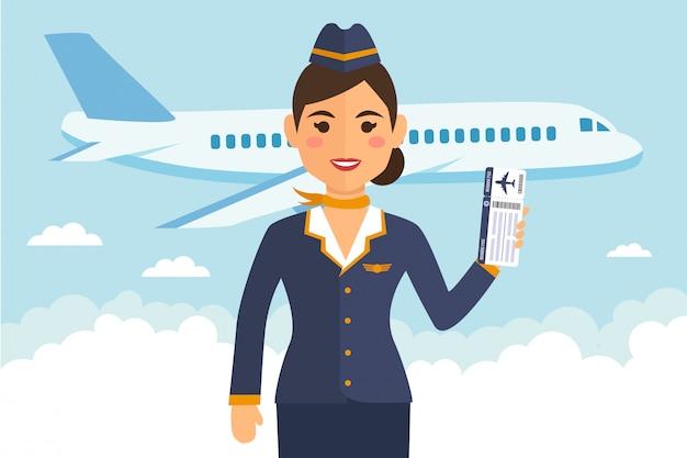Stewardessvrouw in eenvormig met vluchtkaartjes