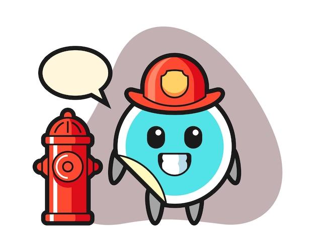 Sticker cartoon als brandweerman