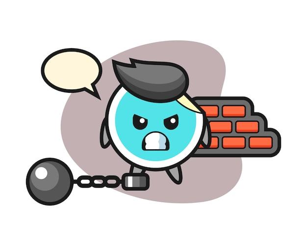 Sticker cartoon als een gevangene