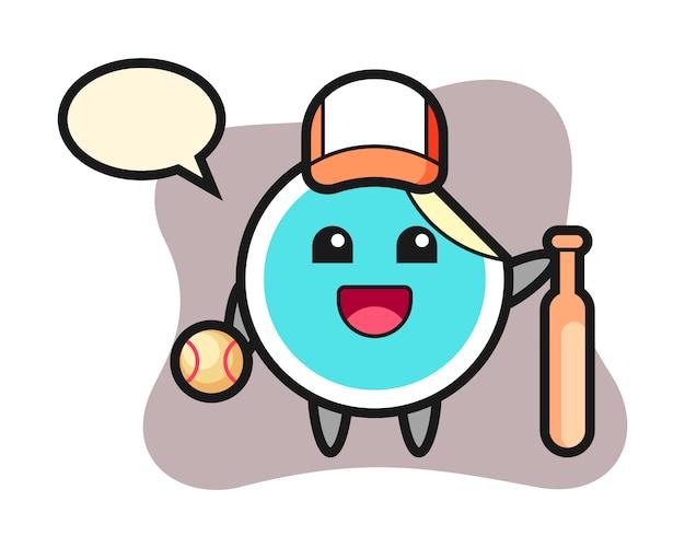 Sticker cartoon als een honkbalspeler