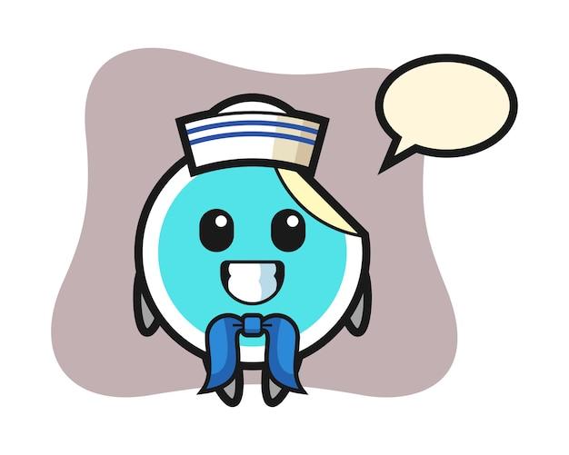 Sticker cartoon als een zeeman