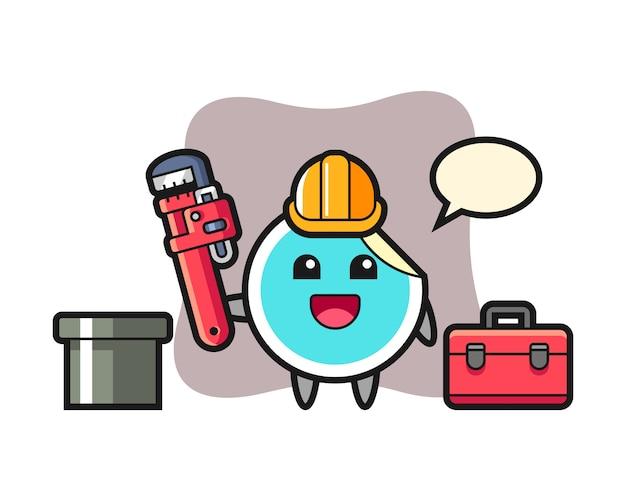 Sticker cartoon als loodgieter