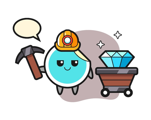 Sticker cartoon als mijnwerker
