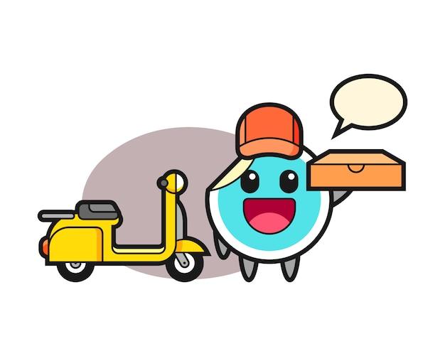 Sticker cartoon als pizzakoerier
