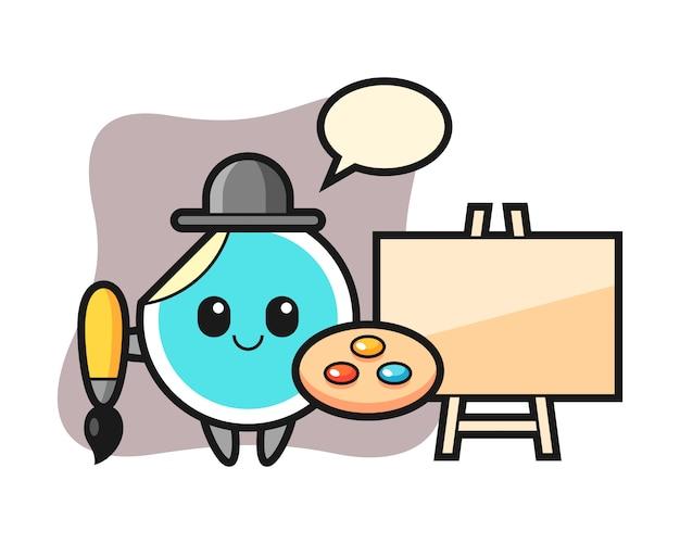 Sticker cartoon als schilder