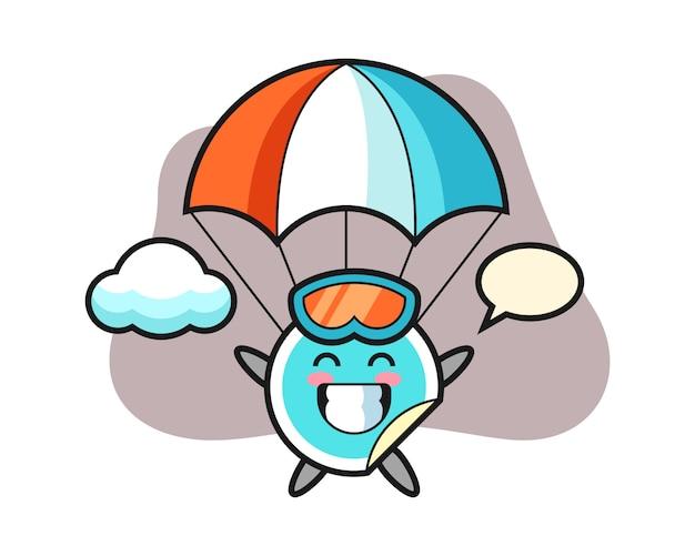 Sticker cartoon is parachutespringen met blij gebaar