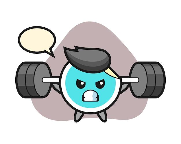 Sticker cartoon met een barbell
