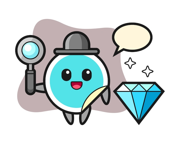 Sticker cartoon met een diamant