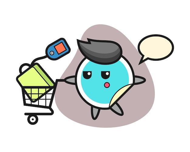 Sticker cartoon met een winkelwagentje