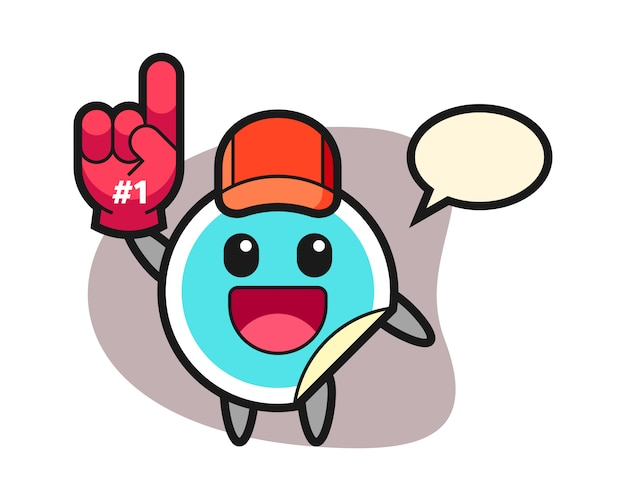 Sticker cartoon met fans handschoen