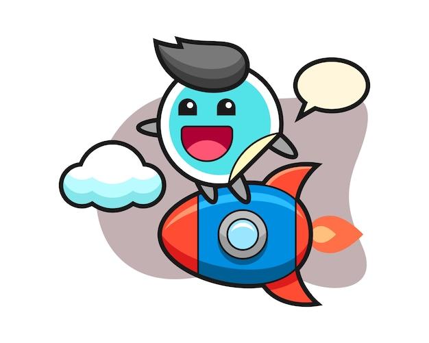 Sticker cartoon rijden op een raket