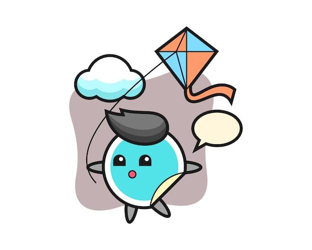 Sticker cartoon speelt kite