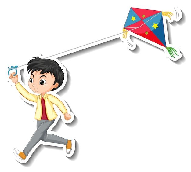 Sticker een jongen die een vlieger stripfiguur speelt