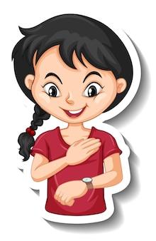 Sticker een stripfiguur van een meisje die naar een polshorloge kijkt
