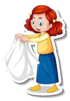 Sticker een stripfiguur van een meisje drogende doek