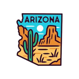 Sticker en label van arizona, monoline-badge