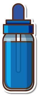 Sticker fles blauwe inkt op witte achtergrond