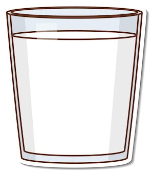 Sticker glas sinaasappelsap op witte achtergrond