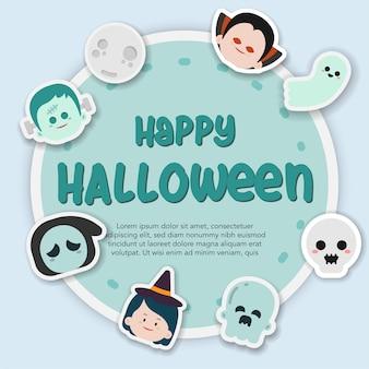 Sticker halloween hand getrokken illustratie