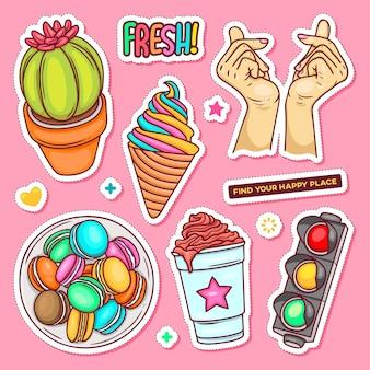 Sticker hand getrokken doodle kleuren vector