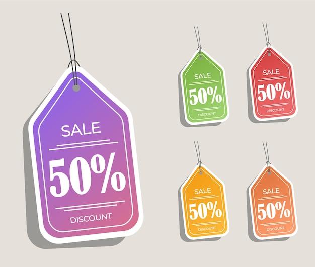 Sticker hangende korting label verkoop premium vector voor uw promotieverkoop