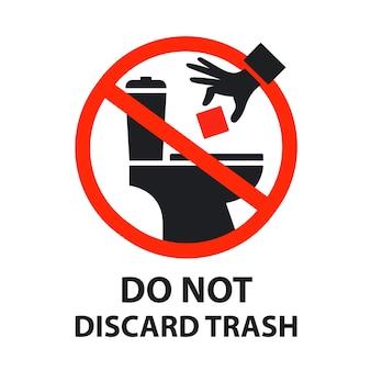 Sticker is verboden om afval in het toilet te gooien. verstopt toilet.