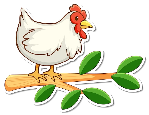 Sticker kip staande op een tak