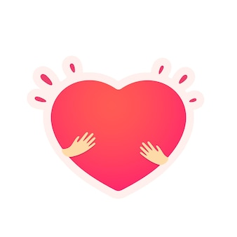 Sticker met abstract hart in handenillustratie