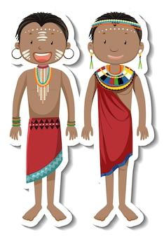 Sticker met afrikaanse tribale paar stripfiguur