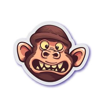 Sticker met bange aap