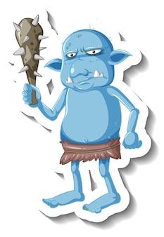 Sticker met blauwe kobold of trol stripfiguur
